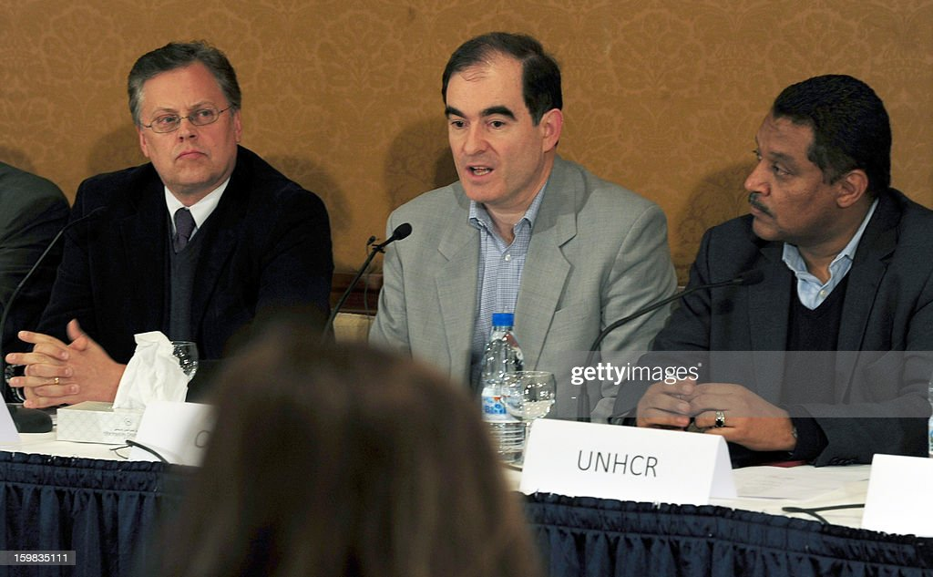 Director of the United Nations Office for Humanitarian Aid John Ging speaks to the press in the Syrian capital Damascus, on January 21, 2013, where he announced that the UN will begin an important humanitarian operation following two years of conflict which has resulted not only in daily deaths and injuries but also in the destruction of its economy and infrastructure.