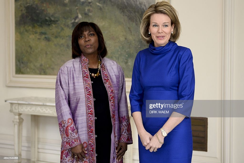 Director of the United Nations World Food Programme (WFP) <a gi-track='captionPersonalityLinkClicked' href=/galleries/search?phrase=Ertharin+Cousin&family=editorial&specificpeople=9100430 ng-click='$event.stopPropagation()'>Ertharin Cousin</a> (L) and Belgian Queen Mathilde pose during a meeting at the Royal palace in Brussels on February 23, 2015.