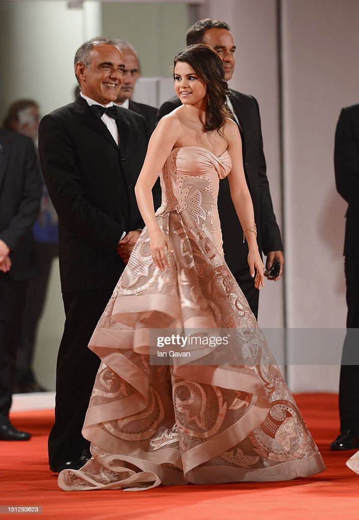 Director of the Venice Film Festival Alberto Barbera and actress Selena Gomez attend the 'Spring Breakers' Premiere during The 69th Venice Film Festival at the Palazzo del Cinema on September 5, 2012 in Venice, Italy.