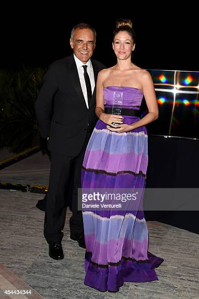 Director of the Venice Film Festival Alberto Barbera and Sarah Felberbaum attend the Kineo Award during the 71st Venice Film Festival on August 31...