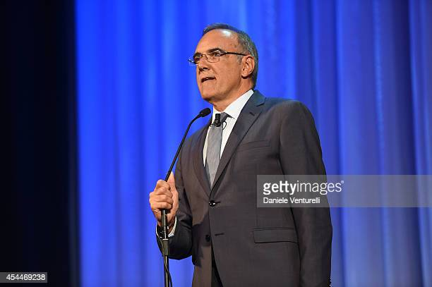 Director of the Venice Film Festival Alberto Barbera attends the 2014 Persol tribute to visionary talent award ceremony for Frances McDomand during...