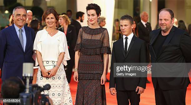 Director of the Venice Film Festival Alberto Barbera director Alix Delaporte actors Clotilde Hesme Romain Paul and Gregory Gadebois attend the 'Le...