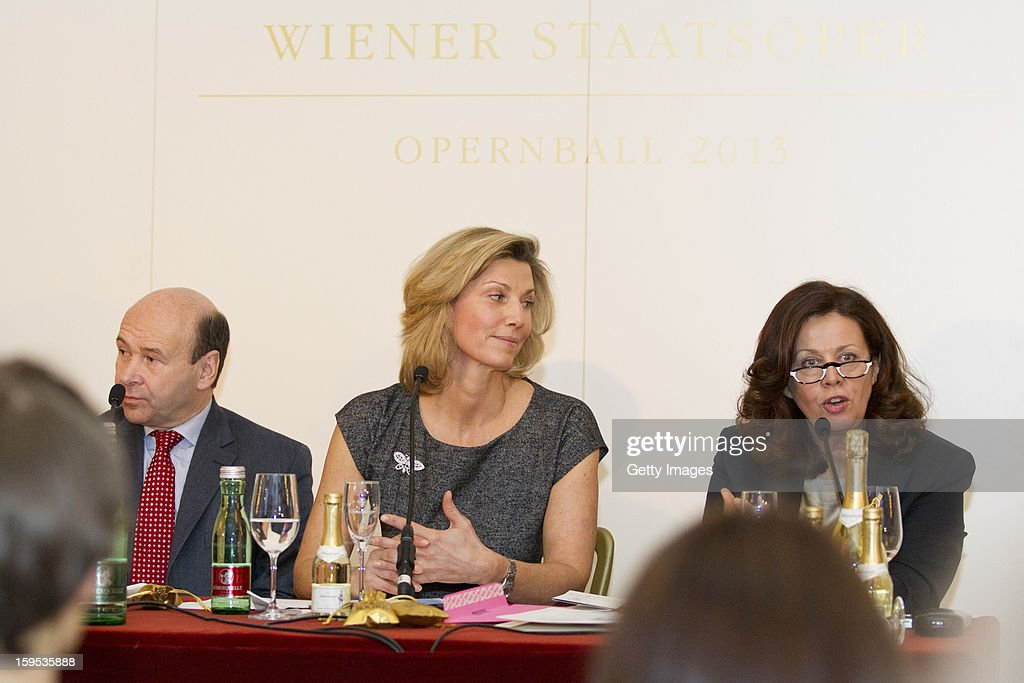Director of the Vienna Opera Dominique Meyer, Organizer of the Opera Ball Desiree Treichl-Sturgkh and General secretary of the Opera Ball Eva Dintsis attend the press conference ahead of Vienna Opera Ball on January 15, 2013 in Vienna, Austria.