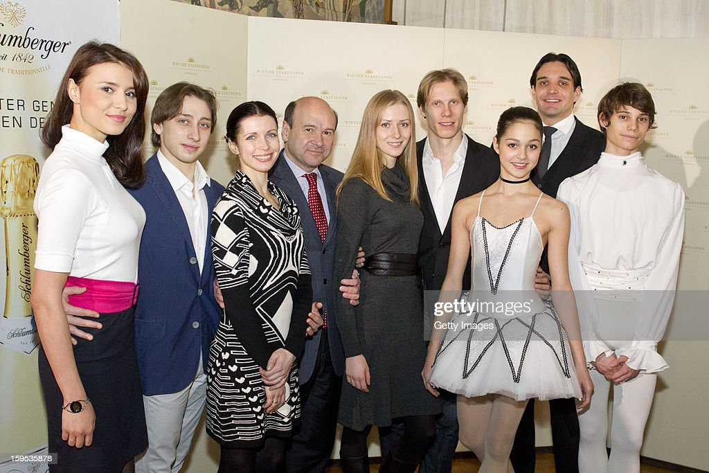 Director of the Vienna Opera Dominique Meyer poses with members of the Vienna Staatsballett during the press conference ahead of Vienna Opera Ball on January 15, 2013 in Vienna, Austria.