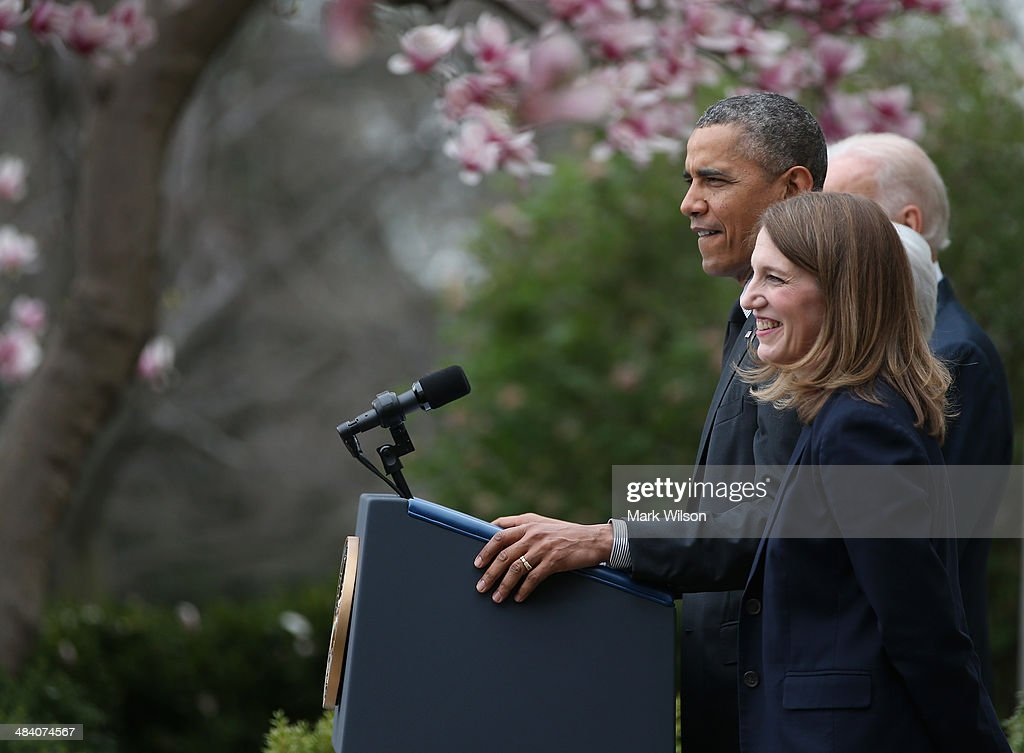 Director of the White House Office of Management and Budget <a gi-track='captionPersonalityLinkClicked' href=/galleries/search?phrase=Sylvia+Mathews+Burwell&family=editorial&specificpeople=7165922 ng-click='$event.stopPropagation()'>Sylvia Mathews Burwell</a> smiles as U.S. President <a gi-track='captionPersonalityLinkClicked' href=/galleries/search?phrase=Barack+Obama&family=editorial&specificpeople=203260 ng-click='$event.stopPropagation()'>Barack Obama</a> nominates her for Health and Human Services Secretary during an event in the Rose Garden at the White House on April 11, 2014 in Washington, DC. Obama announced that Burwell will replace outgoing secretary Kathleen Sebelius.