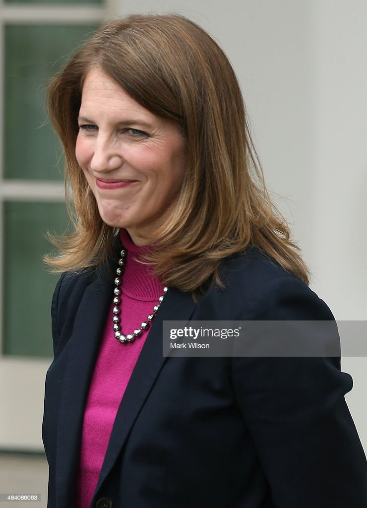 Director of the White House Office of Management and Budget <a gi-track='captionPersonalityLinkClicked' href=/galleries/search?phrase=Sylvia+Mathews+Burwell&family=editorial&specificpeople=7165922 ng-click='$event.stopPropagation()'>Sylvia Mathews Burwell</a> smiles after U.S. President Barack Obama officially nominates her for Health and Human Services Secretary during an event in the Rose Garden at the White House, on April 11, 2014 in Washington, DC. President Obama announced his nomination of Burwell to succeed outgoing Health and Human Services Secretary Kathleen Sebelius.