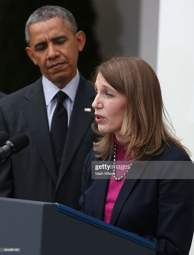 Director of the White House Office of Management and Budget <a gi-track='captionPersonalityLinkClicked' href=/galleries/search?phrase=Sylvia+Mathews+Burwell&family=editorial&specificpeople=7165922 ng-click='$event.stopPropagation()'>Sylvia Mathews Burwell</a> speaks as U.S. President <a gi-track='captionPersonalityLinkClicked' href=/galleries/search?phrase=Barack+Obama&family=editorial&specificpeople=203260 ng-click='$event.stopPropagation()'>Barack Obama</a> listens during an event in the Rose Garden at the White House, on April 11, 2014 in Washington, DC. President Obama announced his nomination of Burwell to succeed outgoing Health and Human Services Secretary Kathleen Sebelius.