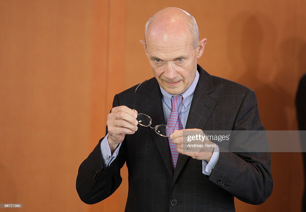 Director of the World Trade Organization (WTO) <a gi-track='captionPersonalityLinkClicked' href=/galleries/search?phrase=Pascal+Lamy&family=editorial&specificpeople=220438 ng-click='$event.stopPropagation()'>Pascal Lamy</a> attends a meeting at the Chancellery on April 28, 2010 in Berlin, Germany. German Chancellor Angela Merkel Merkel met with International Organizations to discuss a solution for the Greece debt crisis that is intensifying pressure on policy makers to widen a bailout package beyond Greece after the Greek debt rating was decreased to 'junk' status. Newsmakers report that the 45 billion euros ($60 billion) already pledged by the International Monetary Fund and European Union will be insufficient to tackle Greece's mounting debt crisis.