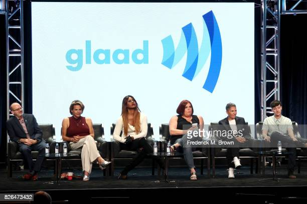 Director of Transgender Media Representation GLAAD Nick Adams actors Alexandra Billings of 'Transparent' and 'How to Get Away with Murder' and...