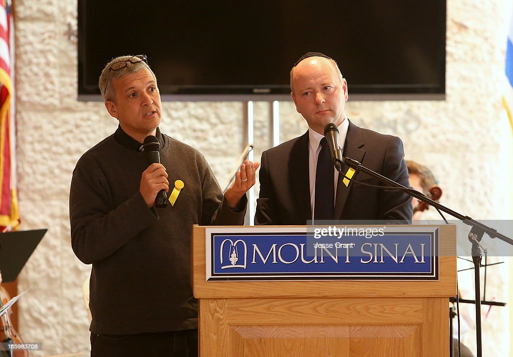 Director of World Outside My Shoes Carl Wilkins and Executive Director USC Shoah Foundation / Founder of the UK Holocaust Centre Stephen D. Smith attend the Six Million Coins Initiative Launch for Holocaust Remembrance Day at Mount Sinai - Simi Valley on April 7, 2013 in Simi Valley, California.