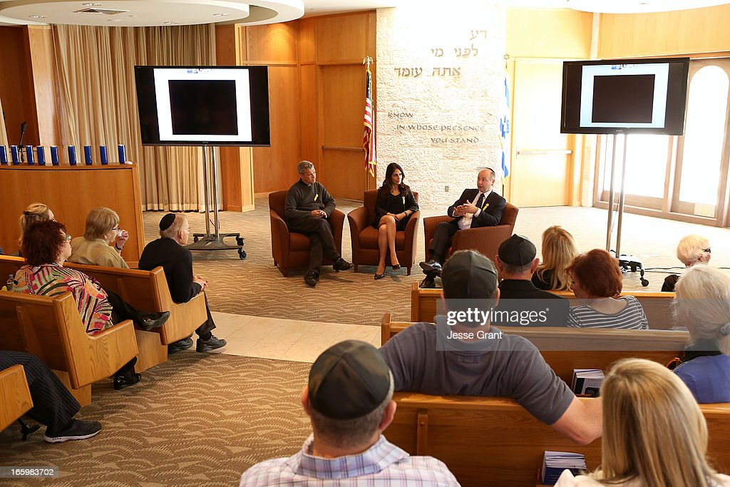 Director of World Outside My Shoes Carl Wilkins, Director of Association for Jewish Culture in Sweden Lizzie Scheja and Executive Director USC Shoah Foundation / Founder of the UK Holocaust Centre Stephen D. Smith attend the Six Million Coins Initiative Launch for Holocaust Remembrance Day at Mount Sinai - Simi Valley on April 7, 2013 in Simi Valley, California.