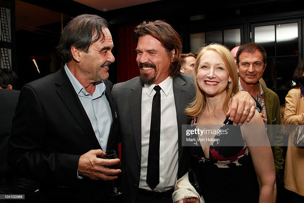 Director Oliver Stone actor Josh Brolin Patricia Clarkson attend the Cinema Society and Blackberry Torch screening of 'You Will Meet a Tall Dark...