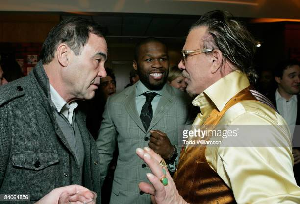 Director Oliver Stone actor/rapper Curtis '50 Cent' Jackson and actor Mickey Rourke attend the after party of the Los Angeles premiere of 'The...