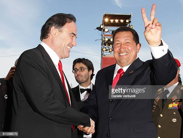 Director Oliver Stone and president Hugo Chavez attend the 'South Of The Border' Premiere at the Sala Grande during the 66th Venice Film Festival on...