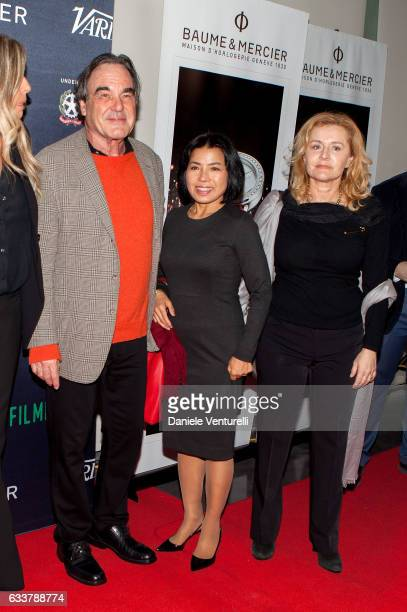 director Oliver Stone and Sunjung Jung attend Filming on Italy By Baume Mercier on February 3 2017 in Los Angeles California