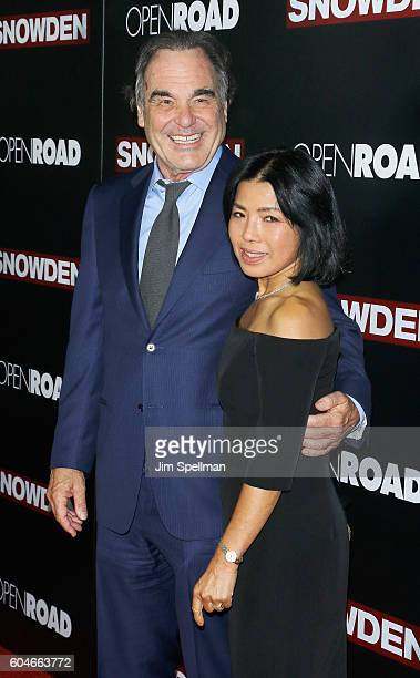 Director Oliver Stone and wife Sunjung Jung attends the 'Snowden' New York premiere at AMC Loews Lincoln Square on September 13 2016 in New York City