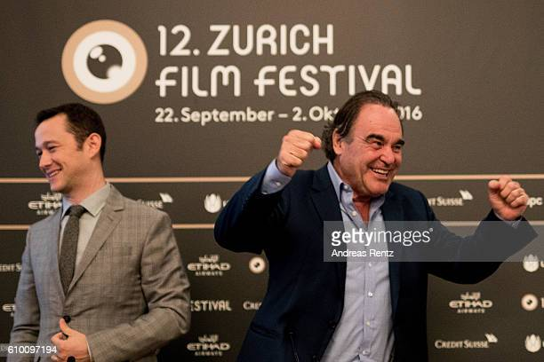 Director Oliver Stone reacts as Joseph GordonLevitt smiles during the 'Snowden' Press Conference during the 12th Zurich Film Festival on September 24...