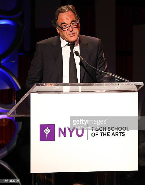 Director Oliver Stone speaks onstage at NYU's Tisch School Of The Arts' West Coast Benefit Gala at Regent Beverly Wilshire Hotel on October 28 2013...