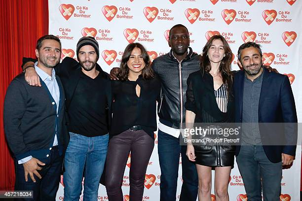 Director Olivier Nakache actors Tahar Rahim Izia Higelin Omar Sy Charlotte Gainsbourg and director Eric Toledano attend the Samba Premiere to Benefit...