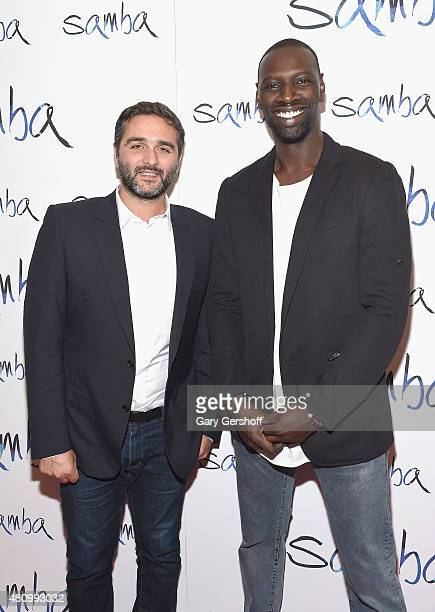 Director Olivier Nakache and actor Omar Sy attend the 'Samba' New York Premiere at the Paris Theater on July 16 2015 in New York City