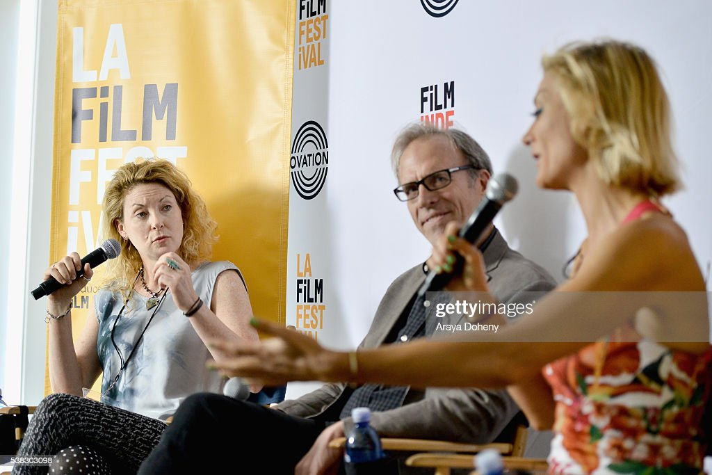 Director Ondi Timoner, Kirby Dick and Lucy Walker speak onstage at Coffee Talks: Documentarians during the 2016 Los Angeles Film Festival at The Culver Hotel on June 5, 2016 in Culver City, California.