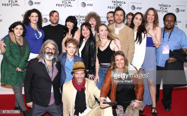 Director Onur Tukel poses with the cast and crew as he attends Tribeca TV Pilot Season 'Black Magic For White Boys' showing during the 2017 Tribeca...