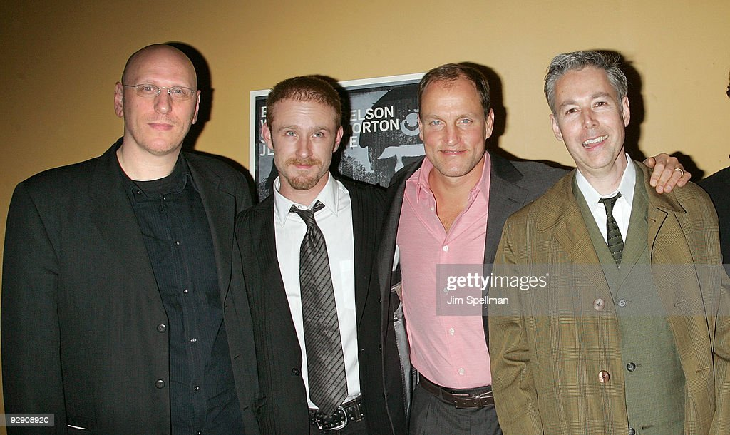 Director Oren Moverman Actors Ben Foster Woody Harrelson and Musician Adam Yauch attend 'The Messenger' Premiere at Clearview Chelsea Cinemas on...