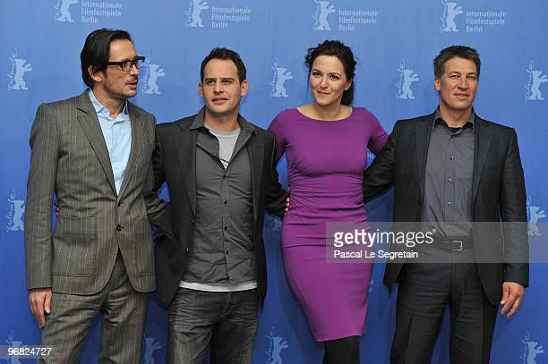 Director Oskar Roehler actors Moritz Bleibtreu Martina Gedeck and Tobias Moretti attend the 'Jud Suess Film Ohne Gewissen' Photocall during day eight...