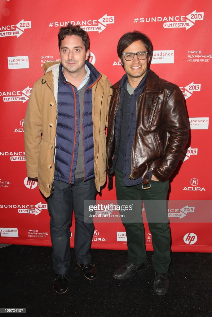 Director <a gi-track='captionPersonalityLinkClicked' href=/galleries/search?phrase=Pablo+Larrain&family=editorial&specificpeople=5351700 ng-click='$event.stopPropagation()'>Pablo Larrain</a> and actor <a gi-track='captionPersonalityLinkClicked' href=/galleries/search?phrase=Gael+Garcia+Bernal&family=editorial&specificpeople=202025 ng-click='$event.stopPropagation()'>Gael Garcia Bernal</a> attend the 'No' premiere at The Marc Theatre during the 2013 Sundance Film Festival on January 18, 2013 in Park City, Utah.