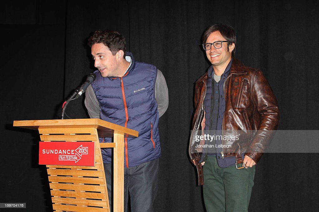 Director <a gi-track='captionPersonalityLinkClicked' href=/galleries/search?phrase=Pablo+Larrain&family=editorial&specificpeople=5351700 ng-click='$event.stopPropagation()'>Pablo Larrain</a> and actor <a gi-track='captionPersonalityLinkClicked' href=/galleries/search?phrase=Gael+Garcia+Bernal&family=editorial&specificpeople=202025 ng-click='$event.stopPropagation()'>Gael Garcia Bernal</a> (R) speak at the 'No' premiere at The Marc Theatre during the 2013 Sundance Film Festival on January 18, 2013 in Park City, Utah.