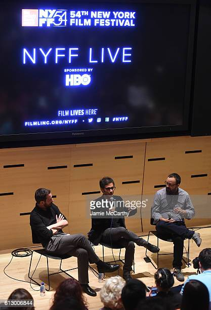 Director Pablo Larrain and actor Gael Garcia Bernal speak onstage with Rodrigo Perez at the 'NYFF Live Neruda' event during the 54th New York Film...