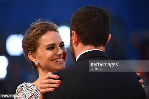 Director Pablo Larrain and actress Natalie Portman attend the premiere of 'Jackie' during the 73rd Venice Film Festival at Sala Grande on September 7...