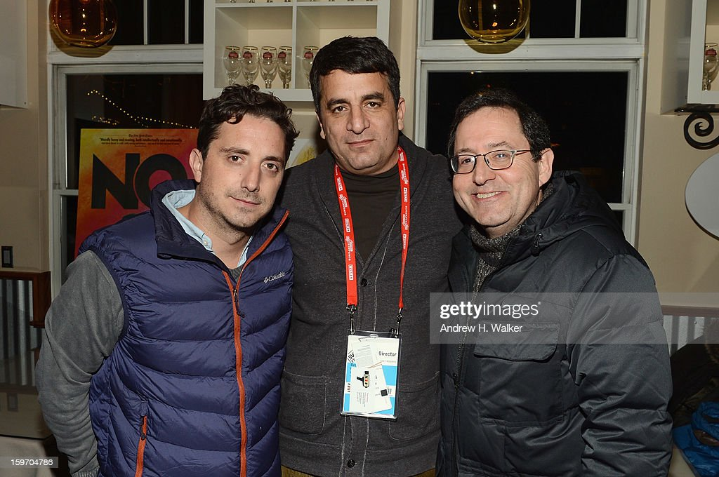 Director Pablo Larrain, director Dror Moreh and co-president and co-founder of Sony Pictures Classics, Michael Barker attend the Stella Artois Cafe on January 18, 2013 in Park City, Utah.