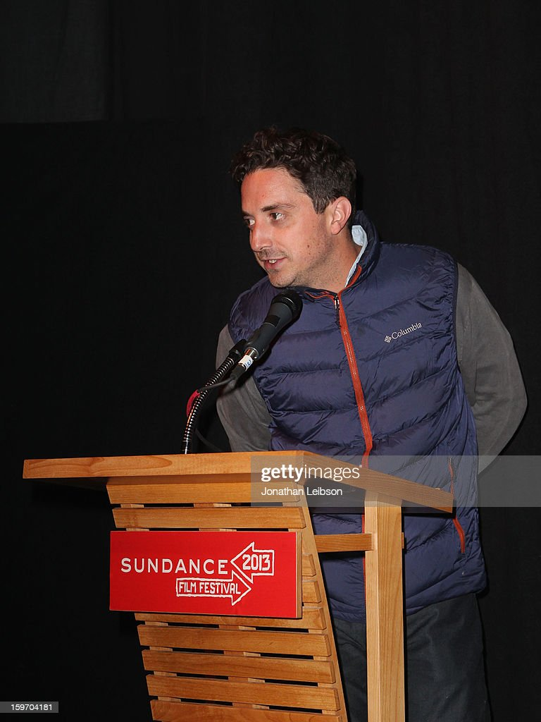 Director <a gi-track='captionPersonalityLinkClicked' href=/galleries/search?phrase=Pablo+Larrain&family=editorial&specificpeople=5351700 ng-click='$event.stopPropagation()'>Pablo Larrain</a> speaks at the 'No' premiere at The Marc Theatre during the 2013 Sundance Film Festival on January 18, 2013 in Park City, Utah.