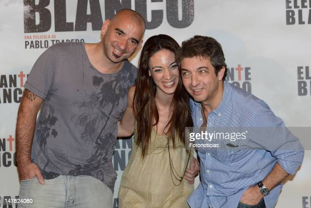 Director Pablo Trapero and actors Martina Gusman and Ricardo Darin attend a photocall for 'Elefante Blanco' at Casa de America on July 4 2012 in...