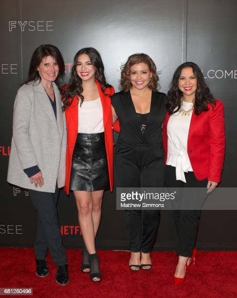 Director Pamela Fryman actress Isabella Gomez actress Justina Machado and actress Gloria Calderon Kellett attend The Women Of Netflix's 'One Day At A...