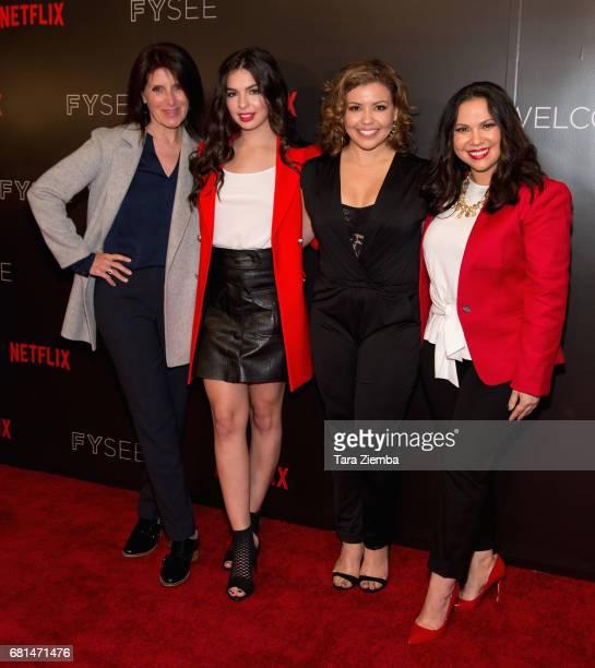Director Pamela Fryman actress Isabella Gomez actress Justina Machado and executive producer Gloria Calderon Kellet attend The Women Of Netflix's...