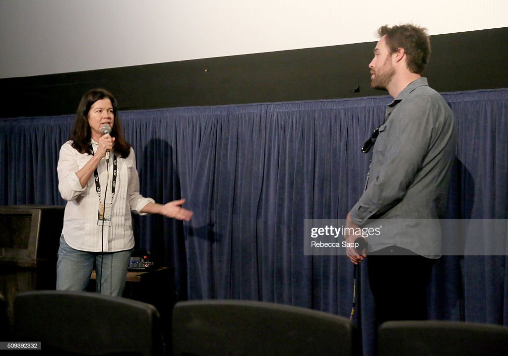 Director Pamela Yates and Moderator Michael Albright speak at the 'Rebel Citizen' Q&A at the Metro 2 at the 31st Santa Barbara International Film Festival on February 10, 2016 in Santa Barbara, California.