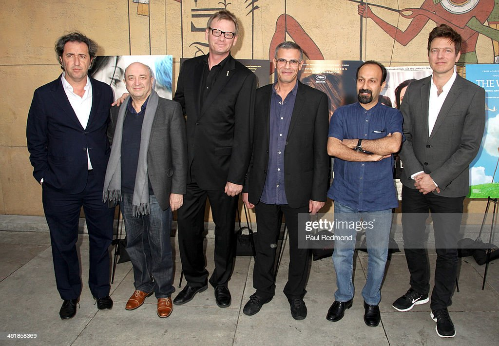 Director <a gi-track='captionPersonalityLinkClicked' href=/galleries/search?phrase=Paolo+Sorrentino&family=editorial&specificpeople=615140 ng-click='$event.stopPropagation()'>Paolo Sorrentino</a>, guest, Hollywood Foreign Press Association President Theo Kingma, directors <a gi-track='captionPersonalityLinkClicked' href=/galleries/search?phrase=Abdellatif+Kechiche&family=editorial&specificpeople=2549398 ng-click='$event.stopPropagation()'>Abdellatif Kechiche</a>, <a gi-track='captionPersonalityLinkClicked' href=/galleries/search?phrase=Asghar+Farhadi&family=editorial&specificpeople=5700577 ng-click='$event.stopPropagation()'>Asghar Farhadi</a> and <a gi-track='captionPersonalityLinkClicked' href=/galleries/search?phrase=Thomas+Vinterberg&family=editorial&specificpeople=2247734 ng-click='$event.stopPropagation()'>Thomas Vinterberg</a> attend Golden Globe Foreign-Language nominees panel discussion and screening series at American Cinematheque's Egyptian Theatre on January 11, 2014 in Hollywood, California.