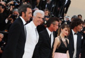 Director Paolo Sorrentino musician David Byrne actor Sean Penn actress Eve Hewson and actor Liron Levo attend the 'This Must Be The Place' Premiere...