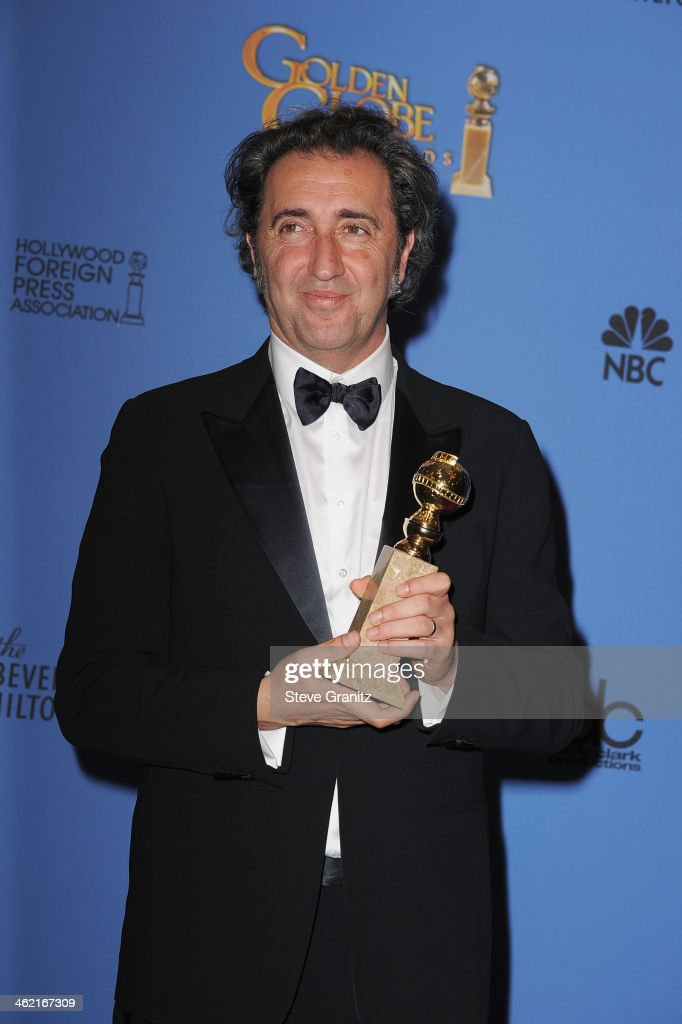 Director Paolo Sorrentino poses in the press room during the 71st Annual Golden Globe Awards held at The Beverly Hilton Hotel on January 12 2014 in...