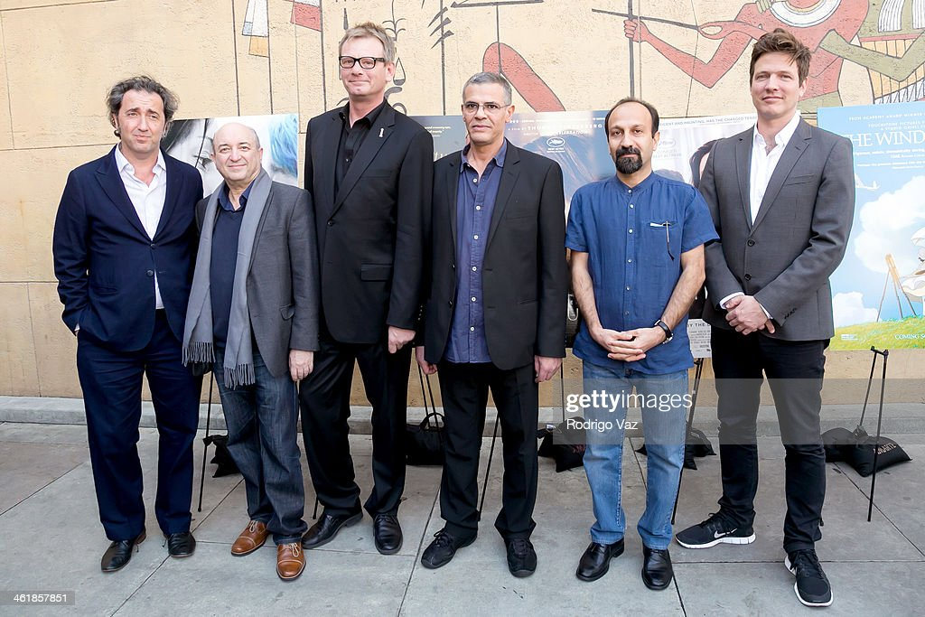 Director <a gi-track='captionPersonalityLinkClicked' href=/galleries/search?phrase=Paolo+Sorrentino&family=editorial&specificpeople=615140 ng-click='$event.stopPropagation()'>Paolo Sorrentino</a>, Serge Rakhlin, HFPA President Theo Kingma and directors <a gi-track='captionPersonalityLinkClicked' href=/galleries/search?phrase=Abdellatif+Kechiche&family=editorial&specificpeople=2549398 ng-click='$event.stopPropagation()'>Abdellatif Kechiche</a>, <a gi-track='captionPersonalityLinkClicked' href=/galleries/search?phrase=Asghar+Farhadi&family=editorial&specificpeople=5700577 ng-click='$event.stopPropagation()'>Asghar Farhadi</a> and <a gi-track='captionPersonalityLinkClicked' href=/galleries/search?phrase=Thomas+Vinterberg&family=editorial&specificpeople=2247734 ng-click='$event.stopPropagation()'>Thomas Vinterberg</a> attend the Golden Globe Foreign-Language Nominees panel discussion and screening series photo op at American Cinematheque's Egyptian Theatre on January 11, 2014 in Hollywood, California.