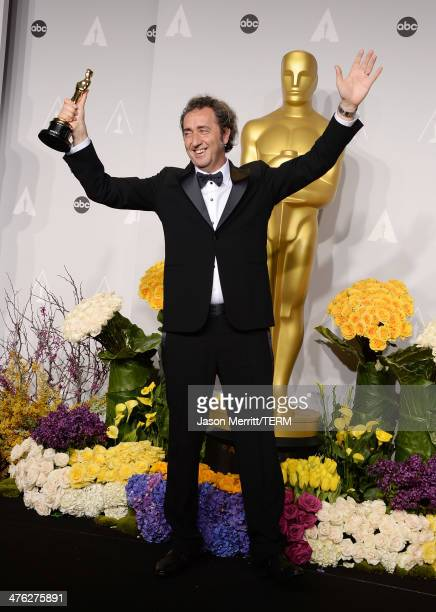 Director Paolo Sorrentino winner of Best Foreign Language Film of the Year poses in the press room during the Oscars at Loews Hollywood Hotel on...