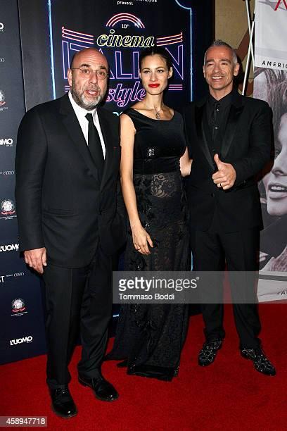 Director Paolo Virzi actress Marica Pellegrinelli musician Eros Ramazzotti attend the American Cinematheque Film Series Cinema Italian Style opening...
