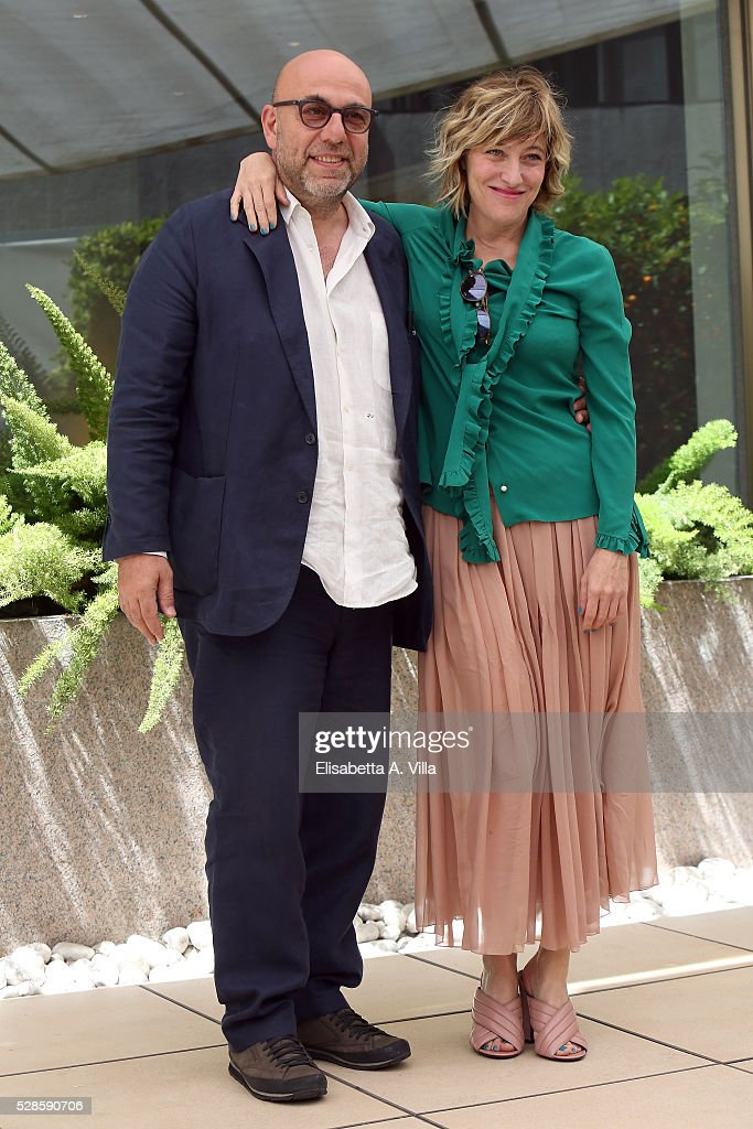 Director Paolo Virzi and actress Valeria Bruni Tedeschi attend a photocall for 'La Pazza Gioia' at Visconti Palace Hotel on May 6, 2016 in Rome, Italy.