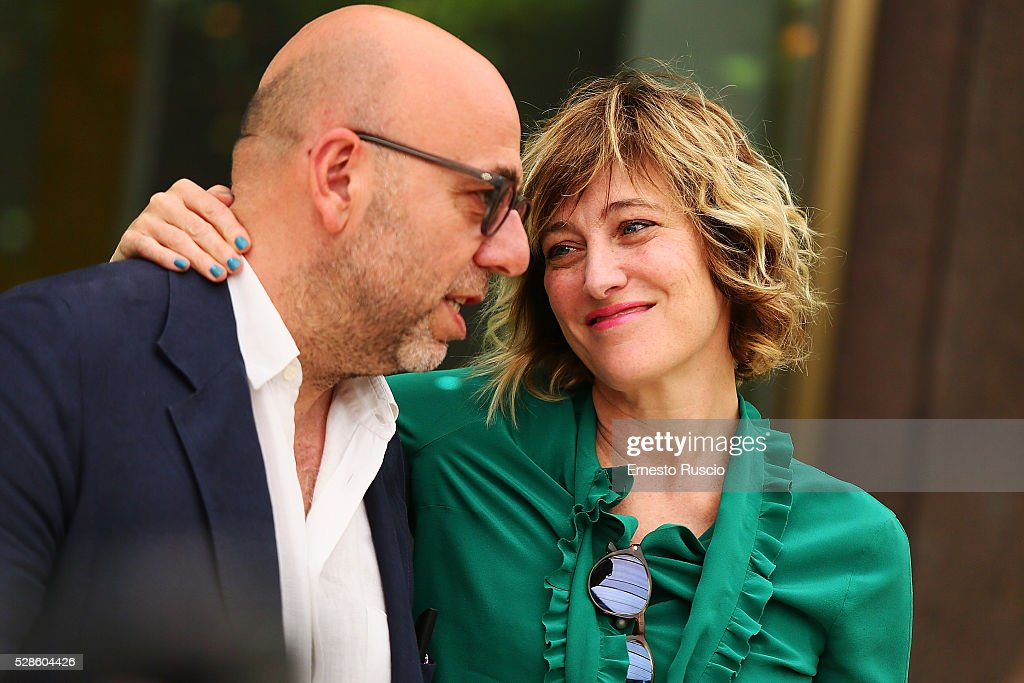 Director Paolo Virzi and Valeria Bruni Tedeschi attend the 'La Pazza Gioia' photocall at Hotel Visconti on May 06, 2016 in Rome, .