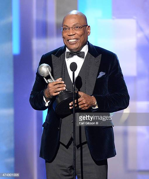 Director Paris Barclay accepts the Hall of Fame award onstage during the 45th NAACP Image Awards at Pasadena Civic Auditorium on February 22 2014 in...