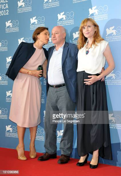 Director Pascal Bonitzer with actresses Kristin Scott Thomas and Isabelle Carre as they attend the 'Cherchez Hortense' Photocall during the 69th...