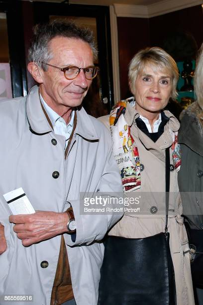 Director Patrice Leconte with his wife Agnes Beraud attend the 'Ramses II' Theater Play at Theatre des Bouffes Parisiens on October 23 2017 in Paris...