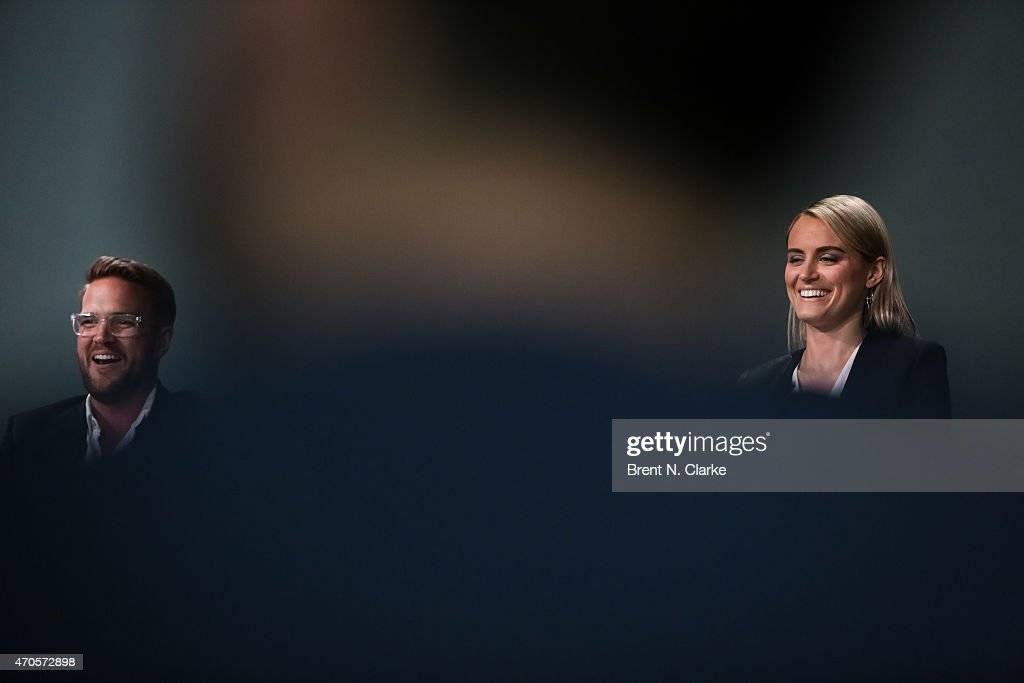 Director Patrick Brice (L) and actress Taylor Schilling speak on stage during Apple Store Soho Presents Tribeca Film Festival: 'The Overnight' held at Apple Store Soho on April 21, 2015 in New York City.